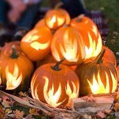 Flame carved pumpkins
