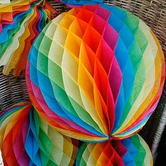Party paper decorations, paper balls, wedding & birthday decs. Vibrant rainbow colours to cheer people up!