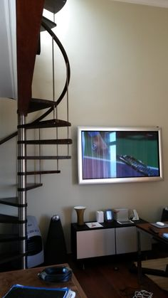 This picture is of a recent custom installation we did this year. Featuring Bang and Olufsen Bang And Olufsen, Flat Screen, Desk, Store, Furniture, Home Decor, Blood Plasma, Desktop, Decoration Home