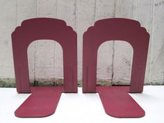 Industrial Bookends Steel Wine Red Metal Office by RescuedCarolina