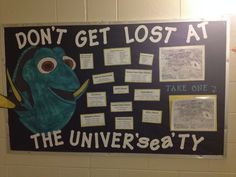 First semester RA bulletin board with maps and information residents can take about the campus