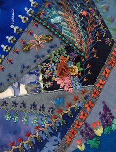 Blues Crazy Quilt block   Flickr - Photo Sharing!