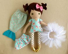 Fabric Doll Rag Doll Brown Haired Girl in Mint by rovingovine, based in Alabama and selling on Etsy