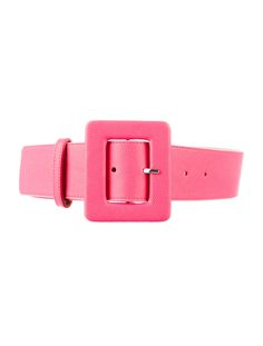 Pink Alice + Olivia wide leather belt with elastic inset and covered buckle closure.