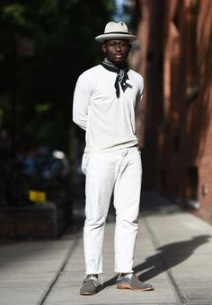 Browse the best street style looks from Men's Fashion Week Spring 2017 | all-white ensemble