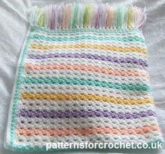 Free baby crochet pattern multi colour blanket http://www.patternsforcrochet.co.uk/afghan-blanket-usa.html #patternsforcrochet