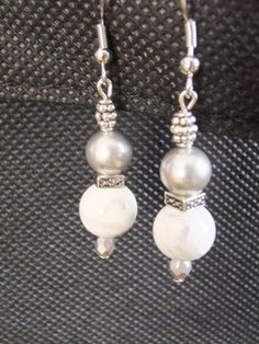 White Howlite Gemstone and Gray Swarovski Crystal Pearl with Metallic Silver Czech Beads Dangle Earrings