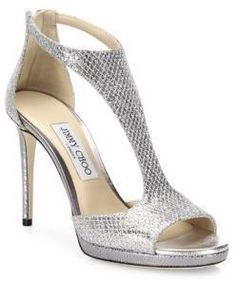 Jimmy Choo Lana 100 Glitter & Leather T-Strap Sandals #bridalshoes #wedding