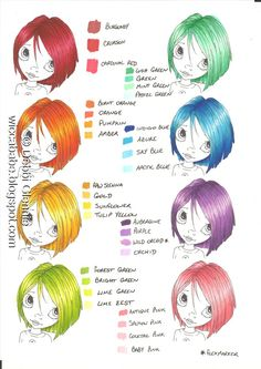 Wiccababe's Tutorials: Colour Combo - Rainbow Hair (Promarkers / Flex Markers)