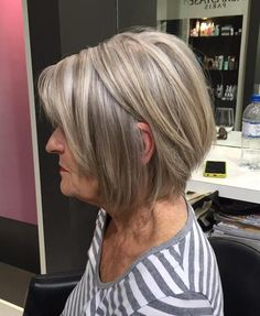 Ash Blonde Layered Bob For Women Over 60