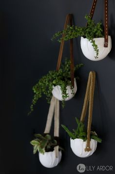 How to use a balloon to make gorgeous hanging planters with modeling clay and leather belt