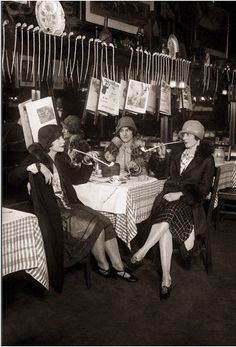 """A group of Speakeasy ladies in the 1920's enjoying what I like to call  """"hobbit pipes""""."""