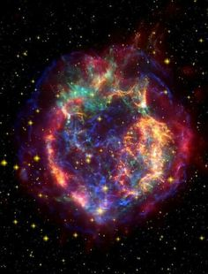 "Cassiopeia - composite in ""false colour"" format using all wavelengths. Photographed by CHANDRA X-Ray Observatory."
