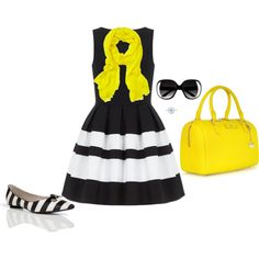 Black, White & Neon Yellow! by jjanstover on Polyvore