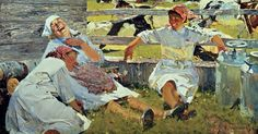 milk maids… One of my favorite pieces of Russian art. Call My Sister, Soviet Art, Russian Art, Figure It Out, Pose Reference, Figure Painting, Back In The Day, Painting Techniques, Traditional Art