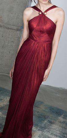 MARIA LUCIA HOHAN Scarlet Halter Neck Pleated Maxi Dress
