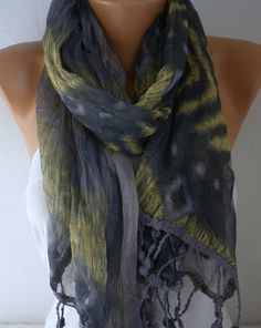 Spring Batik Scarf Camouflage Shawl Multicolor Unisex by fatwoman