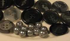Grey Bead and Button Collection 8mm Glass by CherylsGoodStuff, $3.00