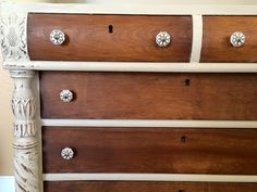 DIY Chalk Paint Refinished Distressed Brenda Marie Designs claw feet key holes target knobs white wood