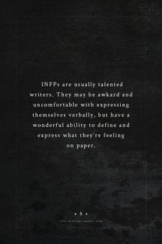 #infps are usually talented writers.