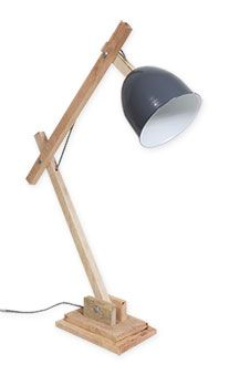 Timber Desk Lamp with Round Beige Shade | honest living ...:Desk Lamp - Charcoal,Lighting