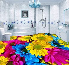 Free Shipping custom ground waterproof stereo stickers 3D floor tiles stickers flooring Colorful flowers wallpaper mural