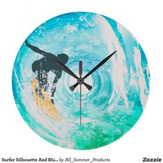 Surfer Silhouette And Blue Water Waves Wall Clock