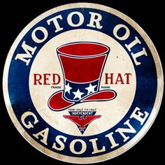 This is a favorite sign due to its unique Red Hat and colors. This is a sign that would be a real standout in any vintage gas sign collection. Looking for vintage retro signs - we are your source Advertising Signs, Vintage Advertisements, Vintage Ads, Vintage Posters, Vintage Style, Old Gas Pumps, Vintage Gas Pumps, Garage Signs, Garage Art