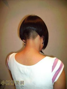 Love the buzzed nape. Stacked Bob Hairstyles, Short Hairstyles For Women, Trendy Hairstyles, Wild Hairstyles, Beautiful Hairstyles, Summer Haircuts, Short Bob Haircuts, Funky Short Hair, Short Hair Styles