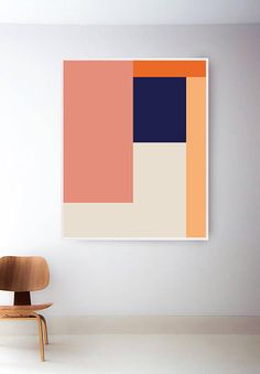 Large Geometric Print, Oversized Printable Geometric Art, Abstract Geometric Art Print, Orange Print, Navy Art, Geometric Wall Art, Modern PLEASE NOTE: This listing is an INSTANT DIGITAL DOWNLOAD OF THIS PRINT. To purchase a printed version of this print follow the link below: