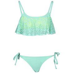 Boohoo Florida Lazer Cut Ruffle Bikini (82 BRL) ❤ liked on Polyvore featuring swimwear, bikinis, swimsuits, bathing suits, swim, seashell bikini, swimming bikini, ruffle bathing suit, bikini swimsuit and swim suits