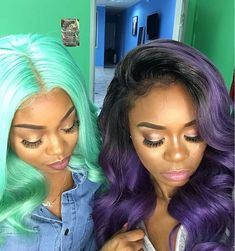 Can't get enough of these colors Full frontal wigs custom colored and installed by @_blossombundles #voiceofhair