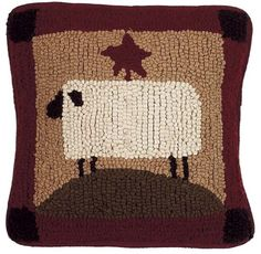 """The Sheep with Star Pillow from Home Collections by Raghu. Wool. Dimensions: 14"""" 14"""". REPLSS30."""