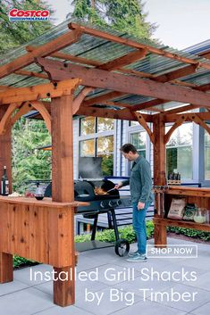 Pergola Ideas Discover Installed Grill Shacks by Big Timber Backyard Fireplace, Backyard Gazebo, Backyard Patio Designs, Backyard Projects, Backyard Landscaping, Backyard Ideas, Backyard Covered Patios, Backyard Buildings, Backyard Seating