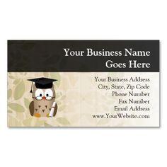 Cute Wise Owl Graduate Business Card Template
