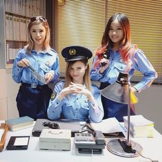 Kim Dao , Sharla in Japan , BiiBiiBeauty We worked very hard today.. Sort of haha filmed at YouTube Space dressed as police women hahaha http://www.instagram.com/kimdaoblog