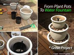 Turn Plant Pots Into A Beautiful Water Fountain