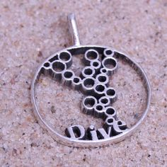 Contemporary Scuba Diving Sterling Silver Diver Round Pendant by Zulasurfing mother's day gift