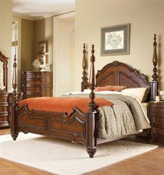 Prenzo Casual Warm Brown Wood Queen Poster Bed