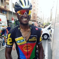 After a long tough day in a grand tour breakaway... Natnael Berhane was still all smiles -LaVuelta!