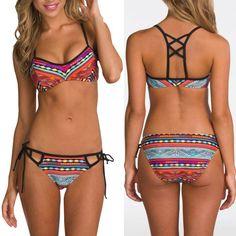 Barato Nova impressão praia swimwear mulheres bandage biquinis mulheres set 2016…