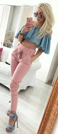 #blush trousers #ruffled top #cute #outfit