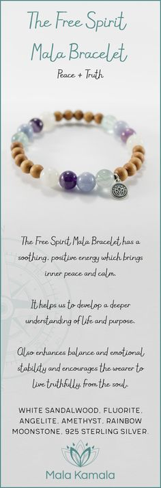 Pin To Save, Tap To Shop! The Free Spirit Mala Bracelet for peace and truth. With white sandalwood, fluorite, angelite, amethyst, rainbow moonstone and 925 sterling silver. Mala Kamala Mala Beads - Malas, Mala Beads, Mala Bracelets, Tiny Intentions, Baby Necklaces, Yoga Jewelry, Meditation Jewelry, Baltic Amber Necklaces, Gemstone Jewelry, Chakra Healing and Crystal Healing Jewelry, Mala Necklaces, Prayer Beads, Sacred Jewelry, Bohemian Boho Jewelry, Childrens and Babies Jewelry.