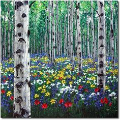 Spring Colors - aspen paintings birch tree aspen art by Jennifer Vranes, painting by artist Jennifer Vranes