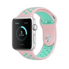 Apple Watch Band AWStech 38mm Soft Silicone Nike Sport Style Replacement Watch band Strap for Apple iWatch Series 1 Series 2 PinkMint Green -- Want to know more on the watch, click on the image.