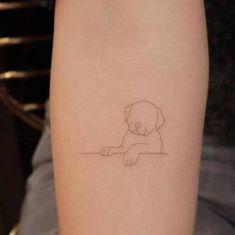 Single needle puppy tattoo on the left inner forearm. Mini Tattoos, Small Dog Tattoos, Body Tattoos, Cute Tattoos, Unique Tattoos, Sweet Tattoos, Silhouette Tattoos, Black Silhouette, Woman Silhouette