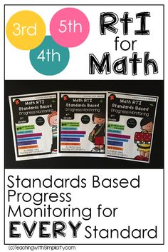 Have you ever been told that you need to be implementing RTI for math? Do you know where to start? This is the reason I created the Standards based progress monitoring. Providing evidence of students learning is crucial. Progress monitoring will allow yo Math Strategies, Math Resources, Fifth Grade Math, Fourth Grade, Second Grade, Response To Intervention, Math Coach, Math Classroom, Classroom Ideas