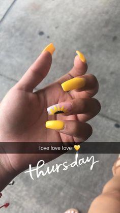 23 Great Yellow Nail Art Designs 2019 - Education and lifestyle Cute Acrylic Nails, Acrylic Nail Designs, Cute Nails, Pretty Nails, Nail Art Designs, My Nails, Acrylic Nails Yellow, Yellow Nails Design, Yellow Nail Art