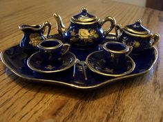 Eme Miniature Teaset Cobalt Blue Made in Spain | eBay
