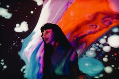 Texas-based photographer Dennis Auburn shot a series of psychedelic portraits by overlaying projections of bright colors and forms on a model. The series, titled 'Aura',. Creative Photography, Portrait Photography, Projector Photography, Foto Pose, Auburn, Indie, Portraits, Artwork, Pictures